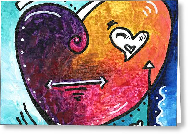Unique Art Greeting Cards - PoP of Love Heart Painting Fun Upbeat and Colorful PoP Art by Megan Duncanson Greeting Card by Megan Duncanson