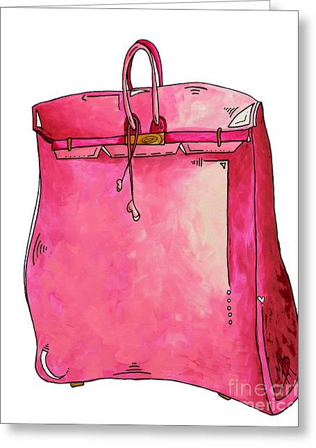 Abstract Purse Greeting Cards - PoP of Pink PoP Art Couture Purse Birkin Style Bag by Megan Duncanson Greeting Card by Megan Duncanson