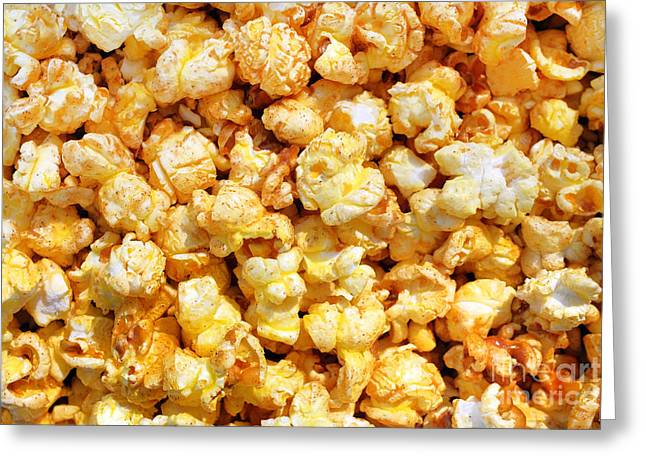 Sweetie Greeting Cards - Popcorn Background Greeting Card by Carlos Caetano