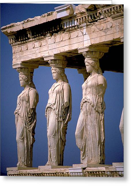 Greek Sculpture Greeting Cards - Porch of the Maidens in Athens Greeting Card by Carl Purcell
