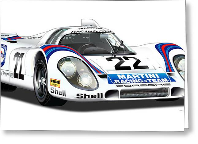 Porsche 917 Illustration Greeting Card by Alain Jamar