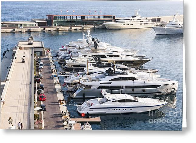 Boat Cruise Photographs Greeting Cards - Port Hercule in Monaco Greeting Card by Elena Elisseeva