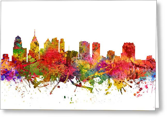 Philadelphia Digital Art Greeting Cards - Philadelphia Cityscape 08 Greeting Card by Aged Pixel