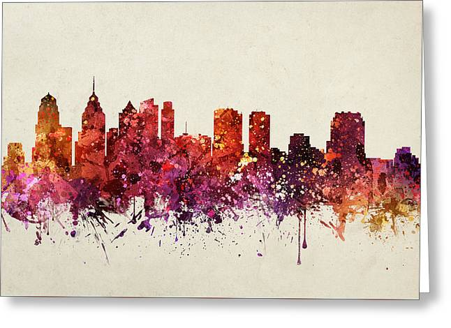 Philadelphia Digital Art Greeting Cards - Philadelphia Cityscape 09 Greeting Card by Aged Pixel