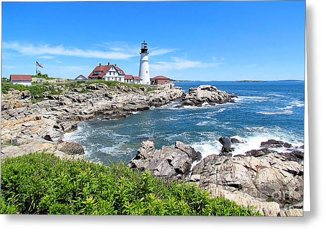 Old Maine Houses Greeting Cards - Portland Head Light Greeting Card by Elizabeth Dow