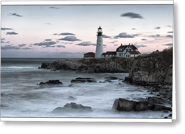 Maine Lighthouses Greeting Cards - Portland Head Greeting Card by Robert Fawcett