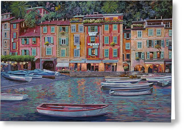 Lewis Greeting Cards - Portofino al crepuscolo Greeting Card by Guido Borelli
