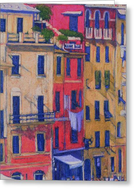 Italian Landscape Pastels Greeting Cards - Portofino II Greeting Card by Alice Bach Hyde