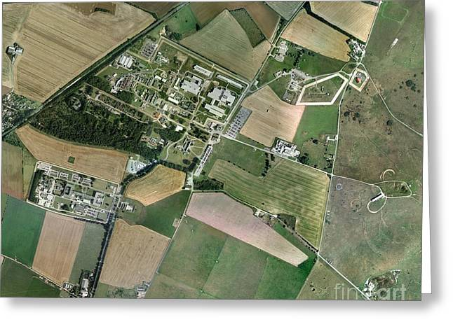 Secretive Birds Greeting Cards - Porton Down, Aerial Photograph Greeting Card by Getmapping plc