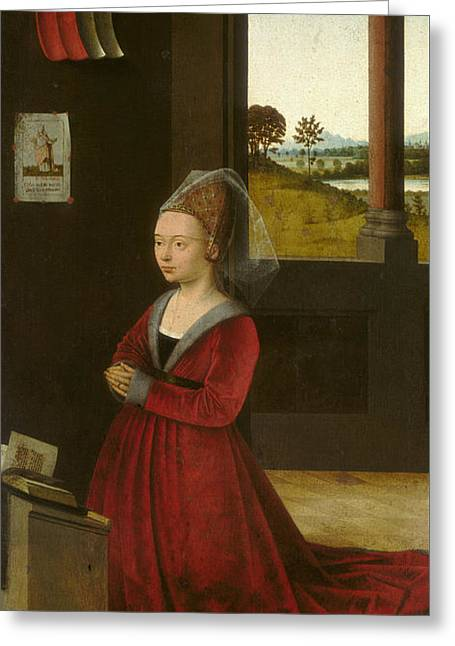 Portrait Of A Female Donor Greeting Card by Petrus Christus