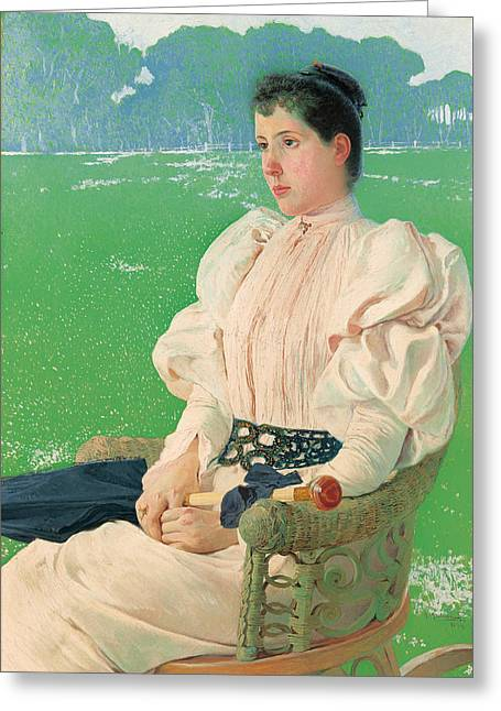 Rocking Chairs Paintings Greeting Cards - Portrait Of A Lady Greeting Card by Anselmo Guinea