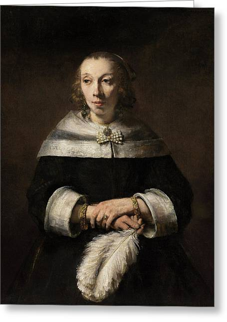 Portrait Of A Lady With An Ostrich-feather Fan Greeting Card by Rembrandt van Rijn