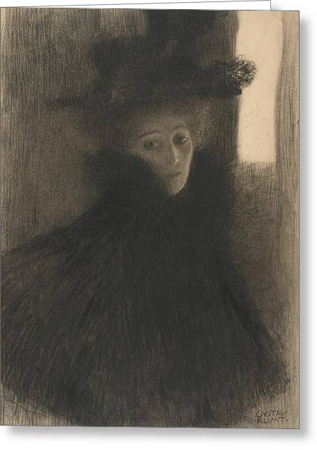 Portrait Of Woman Greeting Cards - Portrait of a Lady with Cape and Hat  Greeting Card by Gustav Klimt