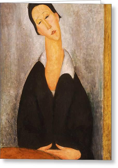 Portrait Of A Polish Woman Greeting Card by Amedeo Modigliani