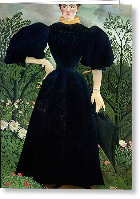 Portraits Of Pets Greeting Cards - Portrait of a Woman Greeting Card by Henri Rousseau