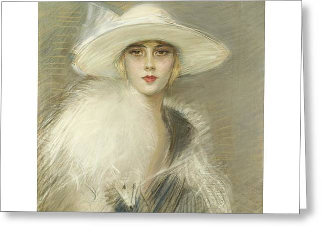 Lipstick Pastels Greeting Cards - Portrait of a Woman Greeting Card by Paul-Cesar Helleu
