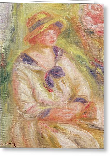 Portrait Of A Woman  Greeting Card by Pierre Auguste Renoir