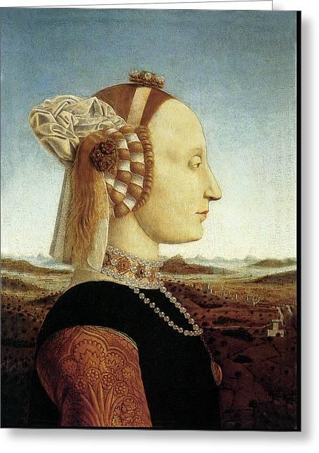 Portrait Of Battista Sforza Greeting Card by Piero della Francesca