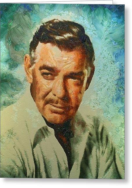 1950s Portraits Greeting Cards - Portrait of Clark Gable Greeting Card by Charmaine Zoe