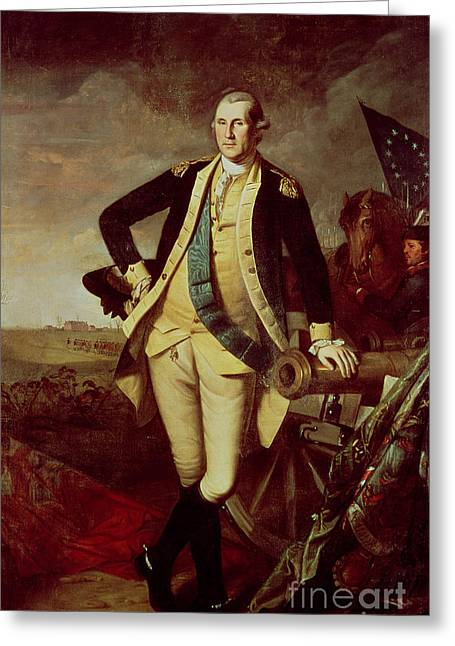 Cannon Greeting Cards - Portrait of George Washington Greeting Card by Charles Willson Peale