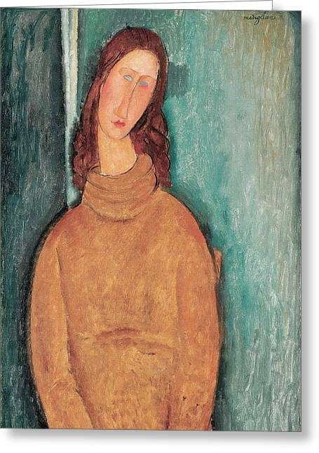 20th Greeting Cards - Portrait of Jeanne Hebuterne Greeting Card by Amedeo Modigliani