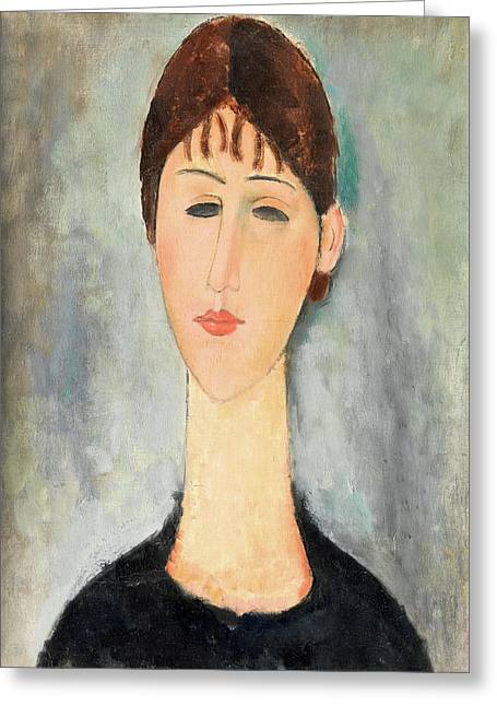 20th Greeting Cards - Portrait of Mme Zborowska Greeting Card by Amedeo Modigliani