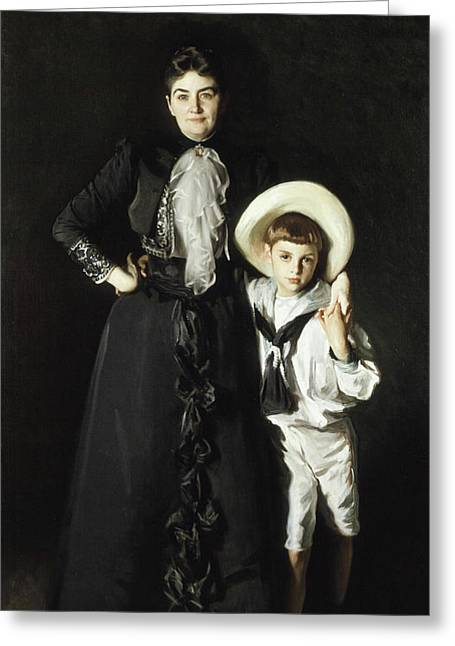 Portrait Of Woman Greeting Cards - Portrait of Mrs Edward L Davis and Her Son Livingston Davis Greeting Card by John Singer Sargent