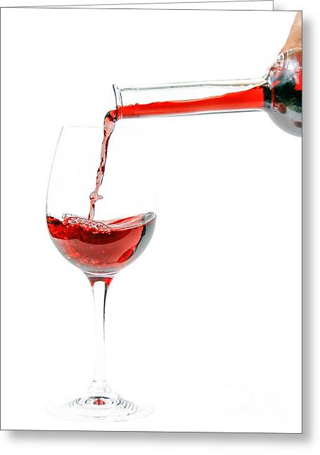 Wine Pouring Greeting Cards - Pouring red wine Greeting Card by Patricia Hofmeester