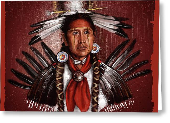 Pow Wow Dancer Greeting Card by Andre Koekemoer