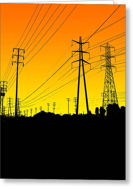 Powerline Greeting Cards - Power lines Greeting Card by Jay Reed