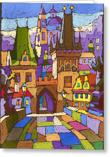 Pastel Greeting Card featuring the painting Prague Charles Bridge 01 by Yuriy  Shevchuk