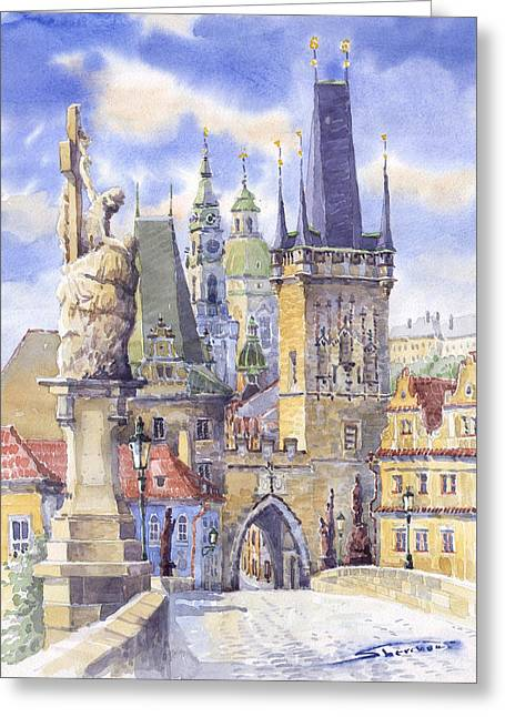 Czech Greeting Cards - Prague Charles Bridge Greeting Card by Yuriy  Shevchuk