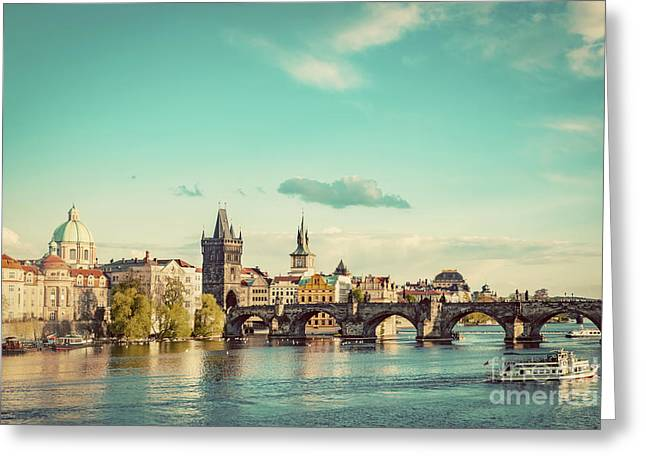 Prague, Czech Republic Skyline With Historic Charles Bridge And Vltava River. Vintage Greeting Card by Michal Bednarek