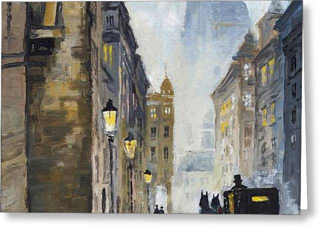 Prague Old Street 01 Greeting Card by Yuriy  Shevchuk