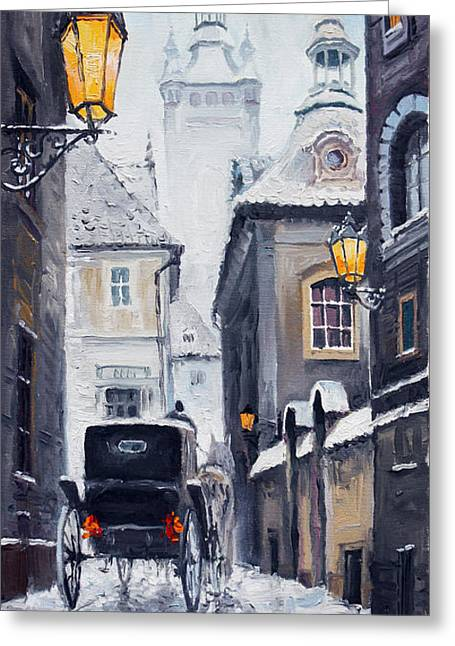 Cabs Greeting Cards - Prague Old Street 02 Greeting Card by Yuriy  Shevchuk