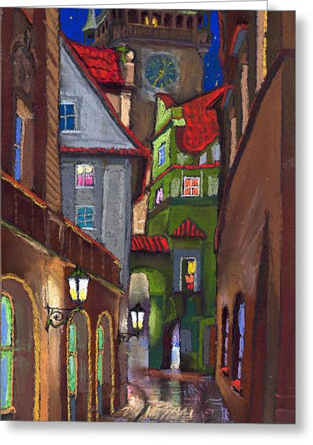 Old Houses Greeting Cards - Prague Old Street  Greeting Card by Yuriy  Shevchuk