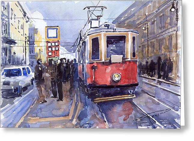Streetscape Greeting Cards - Prague Old Tram 03 Greeting Card by Yuriy  Shevchuk