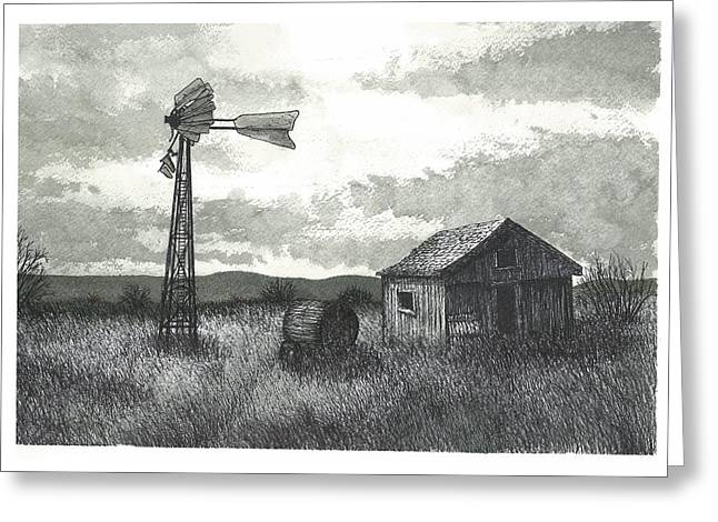 Shed Drawings Greeting Cards - Prairie Farm Greeting Card by Jonathan Baldock