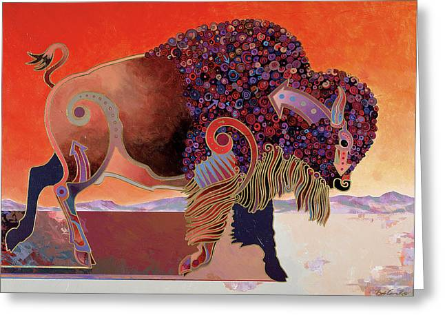 Buffalo Mixed Media Greeting Cards - Prairie Prince Greeting Card by Bob Coonts