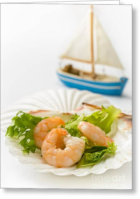 Prawn Boat Greeting Cards - Prawn Salad Greeting Card by Amanda And Christopher Elwell
