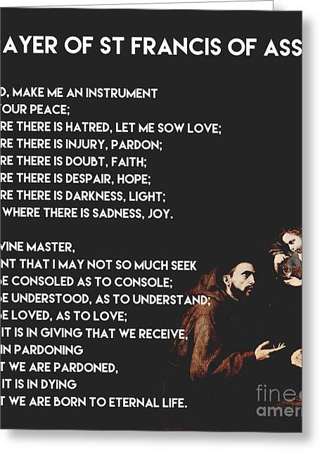 Forgiven Greeting Cards - Prayer Of St Francis of Assisi  Greeting Card by Celestial Images