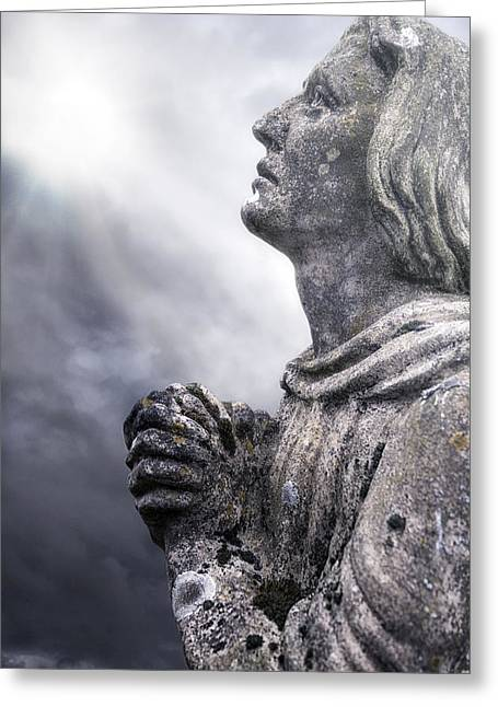 Religious Statue Greeting Cards - Praying Greeting Card by Joana Kruse