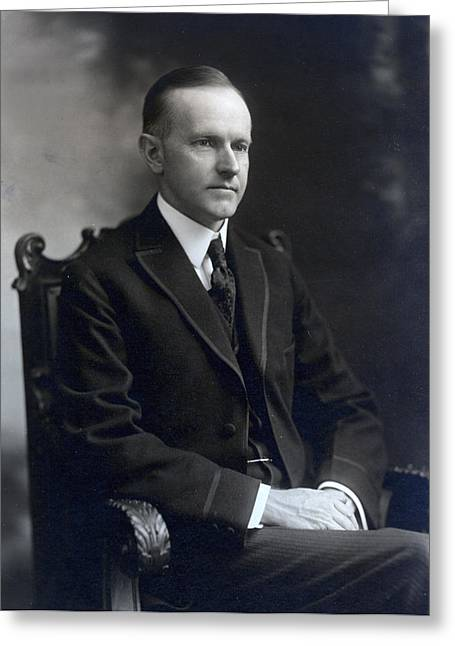 American Politician Greeting Cards - President Calvin Coolidge Greeting Card by International  Images