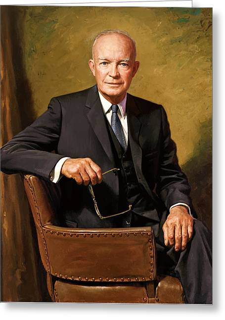 General Dwight D Eisenhower Greeting Cards - President Dwight Eisenhower Greeting Card by War Is Hell Store
