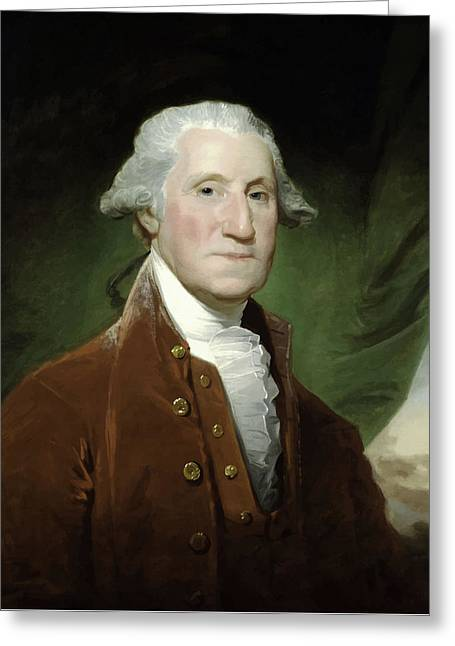 Politicians Paintings Greeting Cards - President George Washington  Greeting Card by War Is Hell Store