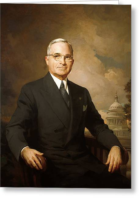 Vice Presidents Greeting Cards - President Harry Truman Greeting Card by War Is Hell Store