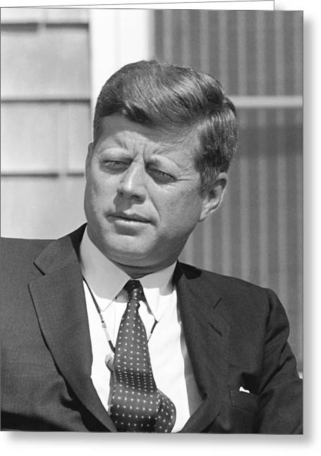 Democrat Photographs Greeting Cards - President John Kennedy Greeting Card by War Is Hell Store