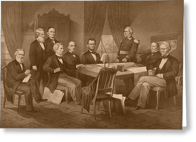 Proclamation Greeting Cards - President Lincoln - His Cabinet and General Scott Greeting Card by War Is Hell Store