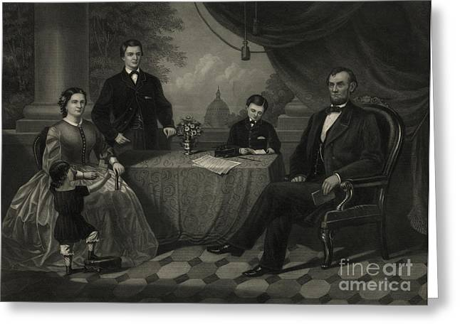 President Lincoln With His Family Greeting Card by Science Source