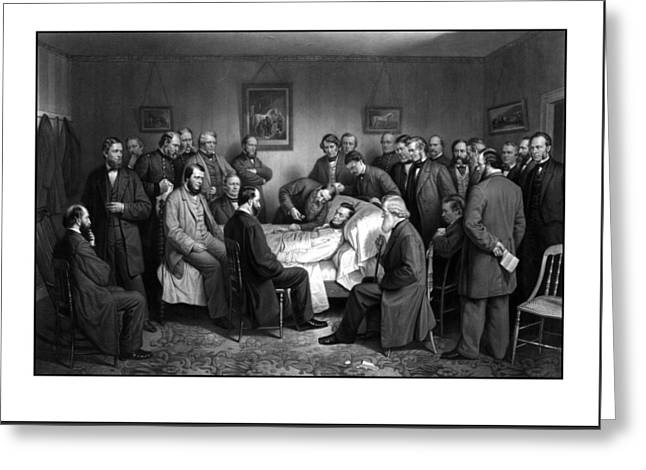 Proclamation Drawings Greeting Cards - President Lincolns Deathbed Greeting Card by War Is Hell Store